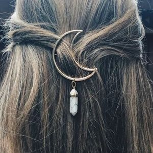 Accessories - HP!🏆Moon Crystal Stone Gold Hairpin
